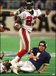 Former Minnesota Vikings kicker Gary Anderson reacts to his first miss of the 1998 football season in the 1999 NFL Championship Game. The miss prevented Minnesota from clinching a Super Bowl berth.