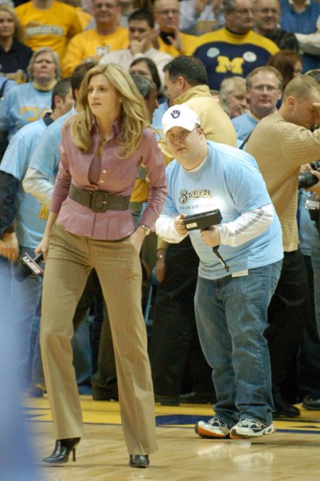 ESPN sideline reporter Erin Andrews at a recent basketball game