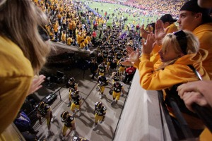 University of Iowa students cheer for their team while they walked off the field after Iowa played Ohio State on Sept. 30, 2006.