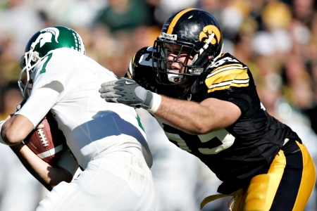 Iowa defensive tackle Matt Kroul takes down Michigan State quarterback Brian Hoyer during the fourth quarter at Kinnick Stadium in Iowa City, Iowa, on Oct. 27, 2007. (JONATHAN D. WOODS/THE GAZETTE)