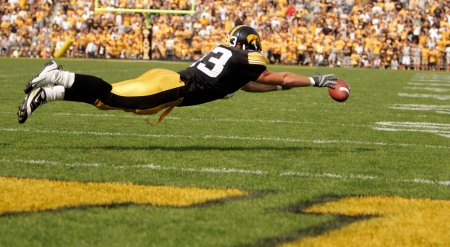 Iowa's Brandon Myers misses a pass during the fourth quarter against Northwestern at Kinnick Stadium in Iowa City on September 27,  2008. (Cliff Jette/The Gazette)