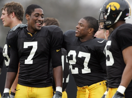Iowa's Marvin McNutt (7) and Jewel Hampton (27) smile on the filed during the Iowa Football Team's spring practice Saturday, April 18, 2009 in Iowa City, Iowa. Saturday's practice was the last practice of spring football. (Brian Ray/The Gazette)