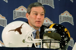 Iowa Coach Kirk Ferentz answers questions from the media during a press conference December 29, 2006 in San Antonio. Iowa and Texas played in the 2006 Alamo Bowl.
