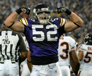 Minnesota Vikings linebacker Chad Greenway (52) celebrates after the Vikings stopped the Chicago Bears on four downs from the 1-yard line during the second quarter Nov. 30, 2008, in Minneapolis. (AP Photo/Tom Olmscheid)
