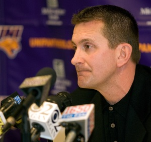 University of Northern Iowa baseball coach Rick Heller speaks at a press conference where the university announced officially the end of the baseball program after this season, on Feb. 23, 2009 at the University of Northern Iowa campus in Cedar Falls, Iowa. Northern Iowa athletic director Troy Dannen noted an expected athletic department budget gap of up to $600,000 next year, thanks to a 9 percent drop in state funding. (AP Photo)