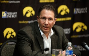 Iowa basketball coach Todd Lickliter speaks during a news conference, March 27, 2009, in Iowa City, Iowa. Lickliter announced that players Jake Kelly, Jeff Peterson, David Palmer and Jermain Davis were transferring from the school. (AP Photo/Charlie Neibergall)
