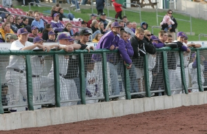 Members of the UNI baseball team watch the action on the field during the Corridor Classic on April 28, 2009 at Veterans Memorial Stadium in Cedar Rapids. UNI won 9-3.  (Brian Ray/The Gazette)