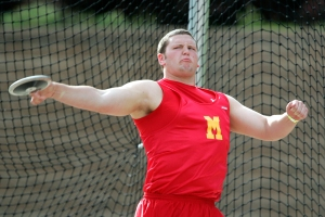 Marion's Drew Clark makes a toss during the 3A Boys Discus event at the 2009 Class 3A state track meet Thursday, May 21, 2009 at Drake Stadium in Des Moines. Clark won the event with a throw of 161 feet, 1 inch. (Brian Ray/The Gazette)