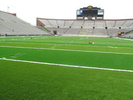 Here's a view of Kinnick Stadium's new FieldTurf looking north to south. (Scott Dochterman/The Gazette)