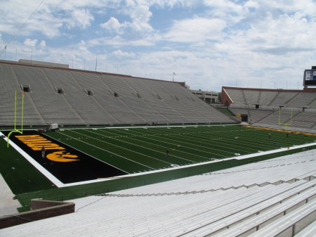 This view is from the northwest bleachers looking at Kinnick Stadium's new FieldTurf. (Scott Dochterman/The Gazette)