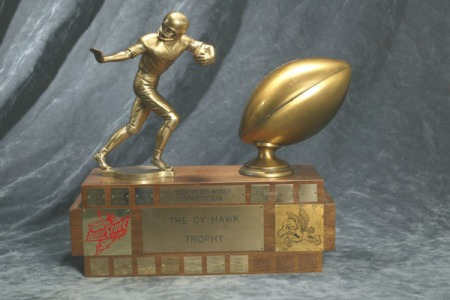 The Cy-Hawk Trophy donated by the Des Moines Athletic Club when Iowa State and Iowa resumed football competition in 1977.