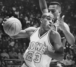 Former Iowa basketball player Roy Marble drives to the basket in a 1986 game at Carver-Hawkeye Arena. Marble is Iowa's all-time leading scorer. His son, Roy Marble Jr., committed to Iowa on Thursday. (The Gazette)